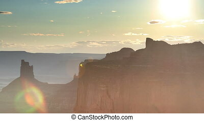 the amazing rock structures at canyonlands, utah, usa at sunset