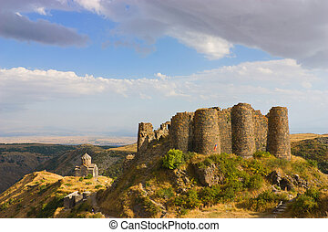 Amberd is a fortress complex with a church built on the slopes of Mt. Aragats at 2,300 meters above sea level in the XI-XIII centuries, Armenia.