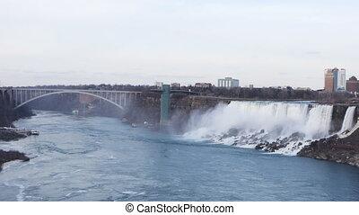 The American Falls and the Rainbow Bridge