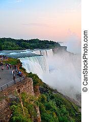 Niagara Falls closeup at dusk