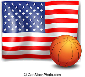 The American flag with a ball