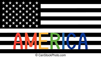 The American flag with the word America