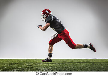 The american football player in action