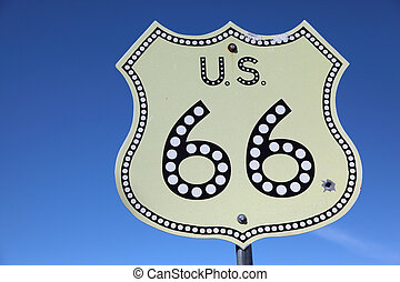 The American highway Historic route 66 - Traffic sign on ...