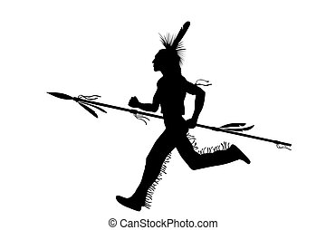 The American Indian soldier with a spear