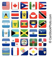 The Americas and the Caribbean Flags Flat Square Icon Set 1