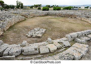 The amphitheatre of the ancient Roman ruins in Egnazia