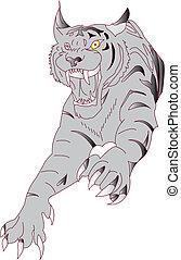 The Amur tiger .Vector illustration