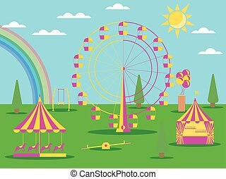 The amusement park flat style. A Ferris wheel, a merry-go-round with horses and a swing. Sunny weather with a rainbow. Vector illustration