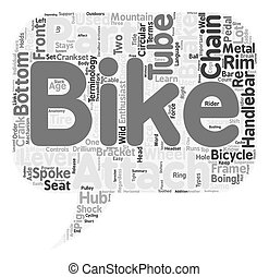 The Anatomy Of A Mountain Bike text background wordcloud...