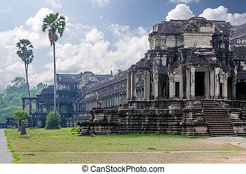 The ancient architecture of Angkor Wat temple in Cambodia