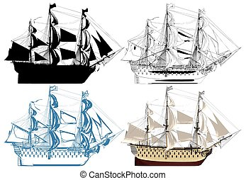 The Ancient Battleship Vector...
