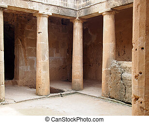 The ancient burial chamber with columns and doorway of tomb number 3 at the Tomb of the Kings necropolis in Paphos Cyprus