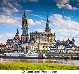 The ancient city of Dresden, Germany. Historical and...