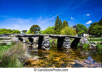 The ancient clapper bridge at Postbridges in Dartmoor...