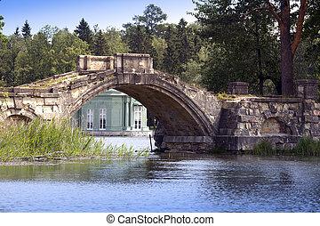 ancient destroyed bridge in park an