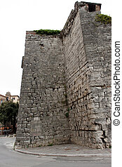 View of the ancient Etruscan walls of the city of Perugia, Umbria - Italy