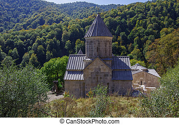 The ancient Haghartsin monastery is located near the town of Dilijan, in a wooded valley.