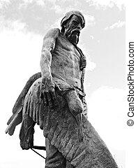 Statue of Coleridge's 'Ancient Mariner' in Watchet, Somerset, England