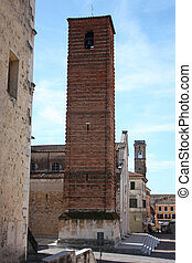 The ancient medieval tower of Pietrasanta, a town of art in Tuscany.