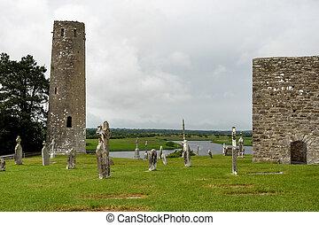 The ancient monastic city of Clonmacnoise in Ireland