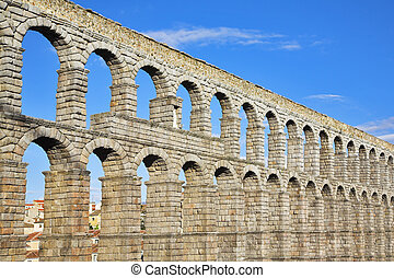 The ancient Segovia in fine May day - The well-known antique...