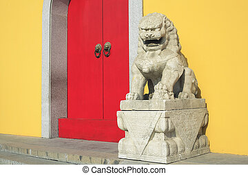 The Ancient stone lion of Chinese temple