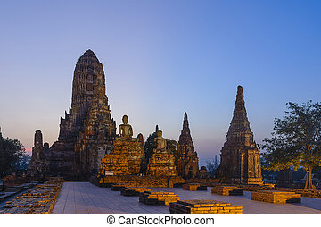 the ancient temple in the twilight scene after the sunset at Ayuthaya histirical park, Thailand