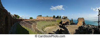 The Ancient theatre of Taormina is an ancient greek theatre,...