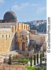 Gray dome of the Al-Aqsa Mosque