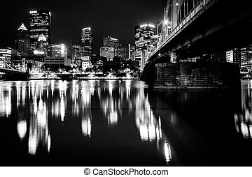 The Andy Warhol Bridge and skyline at night, in Pittsburgh, Pennsylvania.