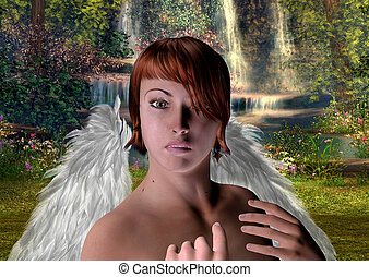 The angel in the magic forest.