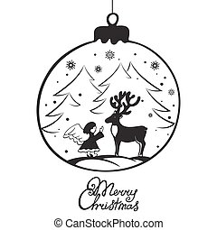 The angel met a deer in the forest. Merry Christmas hand lettering. Greeting card for the New Year in Doodle style.