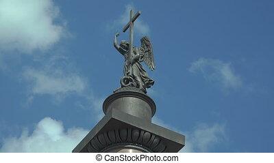 The angel on the Alexander column in St. Petersburg. 4K. -...