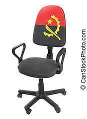 The Angolan flag - on the back of a chair. Isolated on white background.