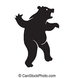The angry bear logo is a black icon on a white isolated background. Vector image