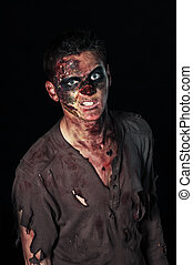 The angry zombie is monster in brown shirt