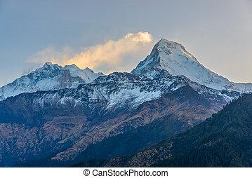 The Annapurnas at sunrise in Nepal