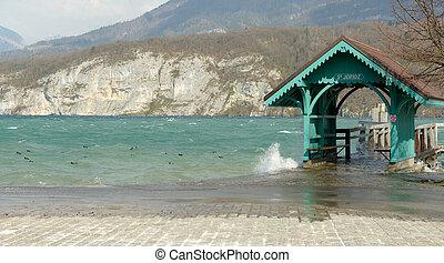 Annecy lake, boat landing stage in Saint-Jorioz