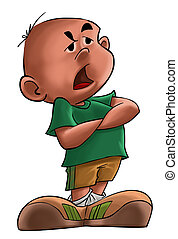 Annoyed boy with a green t-shirt standing