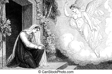 An engraved vintage illustration image of the annunciation to the Virgin Mary of the birth of Jesus, from a Georgian book titled 'Illustrated to the Testament' dated 1836 that is no longer in copyright