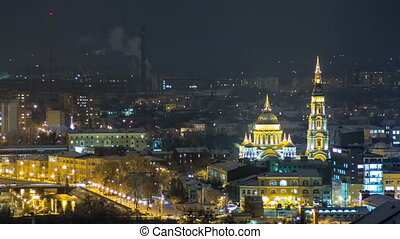 The Annunciation Cathedral day to night timelapse, Kharkov,...