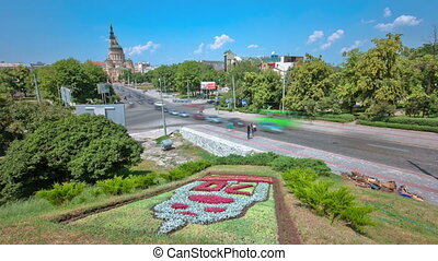 The Annunciation Cathedral timelapse with flowerbed, Kharkov, Ukraine.