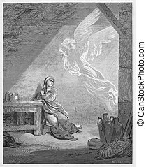 The Annunciation - Picture from The Holy Scriptures, Old and New Testaments books collection published in 1885, Stuttgart-Germany.