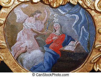 The Annunciation of the virgin Mary, altarpiece in the Church of Our Lady of the Snow in Belec, Croatia