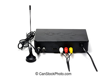 the antenna and receiver with signal  cable for digital television