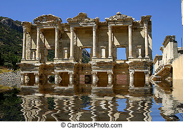 The antique library in Ephesus, also known as Celsius\\\'s...