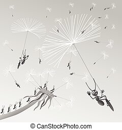 The ants are traveling through the air the seed of dandelion