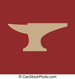 The anvil icon. Smith and forge, blacksmith symbol. Flat...