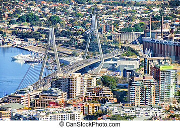 The Anzac Bridge Sydney Australia. Aerial city view